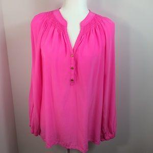 Lilly Pulitzer Elsa 100% Silk Peasant Top Pink L